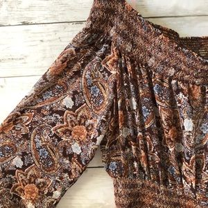 NEW Forever 21 Brown Paisley Calf Length Dress